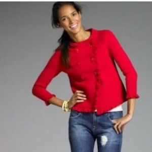 J.crew double breasted ruffled trim sweater